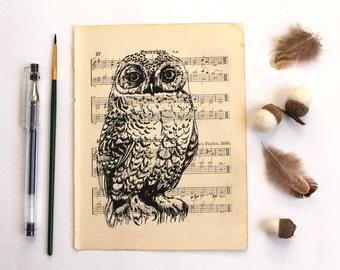 Snowy Owl Gocco Print on Vintage Music
