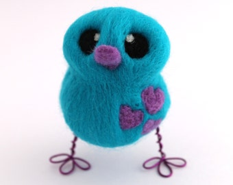 Needle Felted Bird in Turquoise and Purple