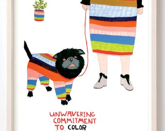 Art, Humor, Dog, Fashion, Poster, Animals, Pets, stripes, Animal Lover, Quirky, Unwavering Commitment to Color Coordination- Fine Art Print