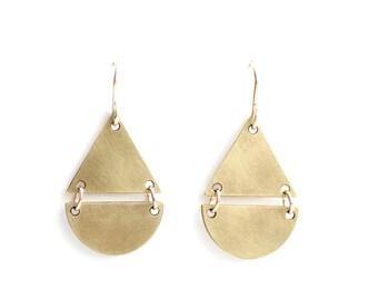 Split Triangle Teardrop Earrings - Gold or Silver