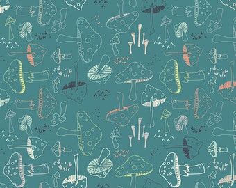 Hello Bear fabric by Bonnie Christine for Art Gallery Fabrics- Morel Grove in Pond, Blue fabric, Choose Your Cut