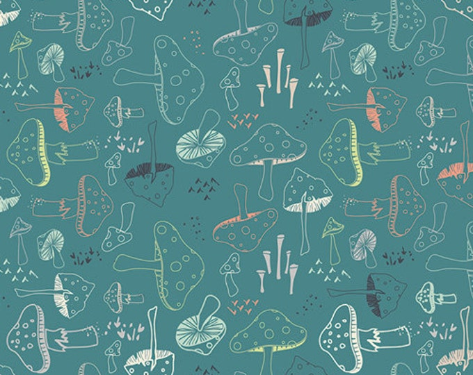 Hello Bear fabric, Mushroom fabric, I Spy Quilt fabric, Woodland Nursery, Gender Neutral, Morel Grove in Pond, Blue fabric, Choose Your Cut