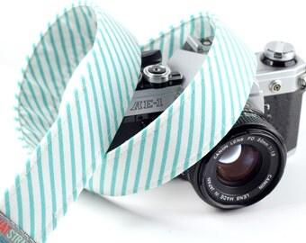 Striped Camera Strap - Retro, Hipster Strap - Thin Mint Stripe