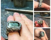 Reserved In my garden recycled silver ring with beautiful pistachio mint green Candelaria variscite stone with midnight matrix sz 8