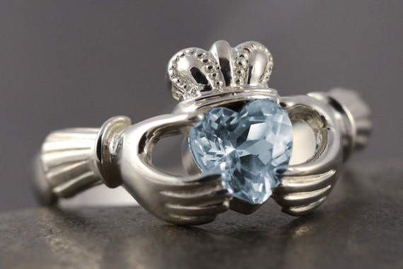 Aquamarine Claddagh ring in sterling silver