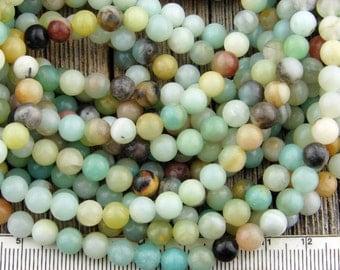 6mm Amazonite Beads, Flower Amazonite Beads, Multicolor Amazonite Round Beads Smooth Gemstone Beads 6 mm