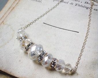 Crystal Bridal Necklace Sterling Silver Rhinestone Weddings Vintage Style Swarovski Crystal Gifts Under 50 Vintage Style