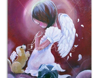 Original Painting on Canvas, 11x14, Angel and Puppies, Puppy Heaven, Free Ship