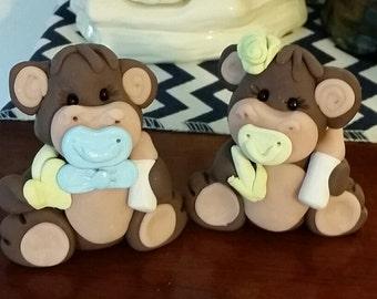 baby shower baby monkey cake topper boy or girl