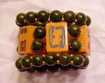 Signed Jan Carlin Designer 3 pc bakelite dragon bracelet