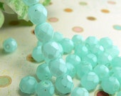 Aqua Czech Glass Beads Matte Turquoise Mint Frosted 6mm Round Firepolished (25)