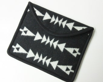 iPad Cover Case iPad Sleeve Padded Wool Tribal Inspired Arrows Black White