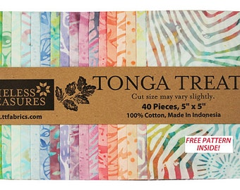 "Timeless Treasures BOUQUET BATIKS Precut 5"" Tonga Treat Minis Fabric Cotton Quilting Squares"