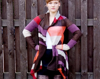 Patchwork cardigan, hooded brown cardigan, orange cardigan, Knit cardigan, knitwear, elf cardigan, brown orange cardigan, violet cardigan