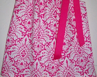 12m Pillowcase Dress Hot Pink Damask Dress Summer Dresses baby girl dresses Summer Outfit Sundresses Ready to Ship