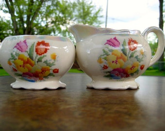 Antique Sugar and Creamer English Ware--Needlepoint Look--Pearllite Trim
