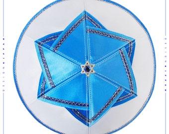 Kippah - yarmulke. Jewish wedding - Bar Mitzvah - Shabbat. David Star. Israel.