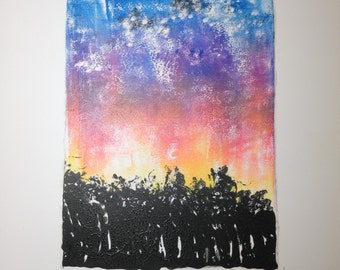 Monotype printmaking abstract landscape original art Sunset Enriched