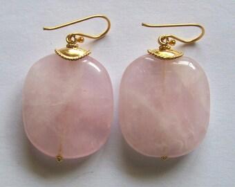 HUGE Rose Quartz Earrings Gold Vermeil pastel pink big simple statement minimalistic rustic bohemian natural Love stone woman birthday gifts
