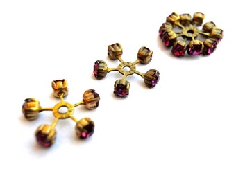 2 SWAROVSKI CRYSTAL beads, vintage,  flower shape brass setting with pink crystals- RARE