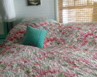 Vintage pink peony floral cotton soft quilt blanket madmen mid century beddpread coverlett