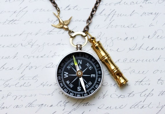 Lost At Sea Compass Necklace Working Compass Necklace Steampunk Jewelry Romantic Jewelry