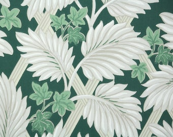 1950s Vintage Wallpaper by the Yard - Tropical Gray Leaves and Lattice on Green