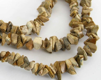 Picture Jasper Beads, Chip Jasper Beads, Long Strand, Scenic Jasper, 34 Inch Strand, Landscape Jasper, Earth Tones, Jas215