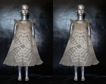 Organic and Natural Eco Cotton & Colour Tie Dye GIRLS Babydoll DRESS natural bark ( Oroxylum indicum )  Size Age 6 7 8 anti allergenic dress