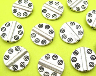 7 Coin Beads, Silver Plated, Tube Beads, Flat Disk Beads, Round Beads, Metal Beads, Spacer Beads, DIY Jewelry, Silver Beads - TS201R