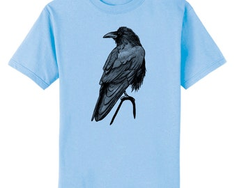 Single Raven Crow Bird Art T-Shirt Youth and Adult Sizes