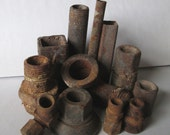 12 Rusty Metal Hollow Tubes Pipes Hardware Tools Assemblage Shadowbox Welding Sculpture 3D Altered Art Shadowbox Shrine Mixed Media Supplies