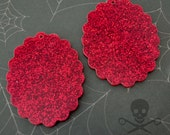 2 RED GLITTER MIRROR Cameos - 30 x 40 mm Frame Settings - Laser Cut Acrylic