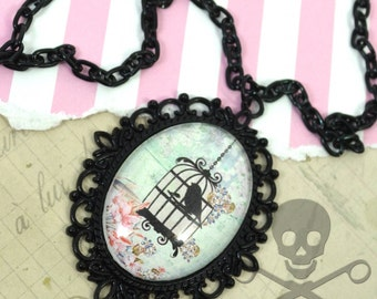 CAGED BEAUTY-BIRDCAGE Cameo Glass Cabochon Necklace