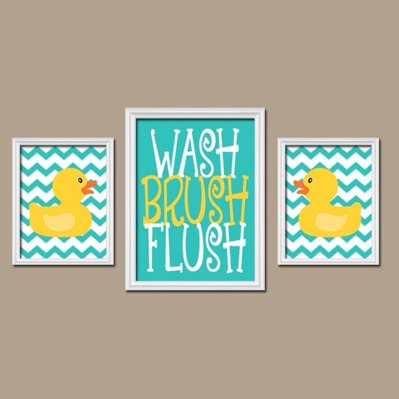 Rubber duckie bathroom turquoise yellow duck wall art canvas - Yellow and turquoise bathroom ...