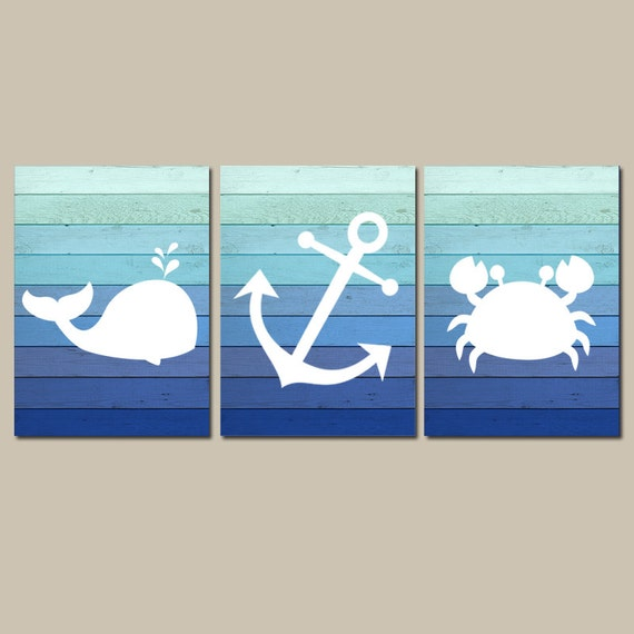 Nautical Wall Art CANVAS Or Prints Whale Anchor Crab Blue