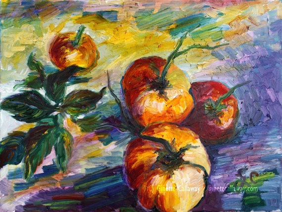 Heirloom Tomatoes Impressionist Still Life Oil Painting Ginette Callaway