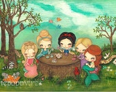 Princess Print Original Art Nursery Children Snow White Princess Tea party LARGE PRINT 11 x 14