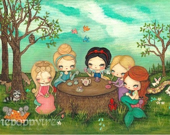 Princess Print Original Art Nursery Children Snow White Princess Tea party