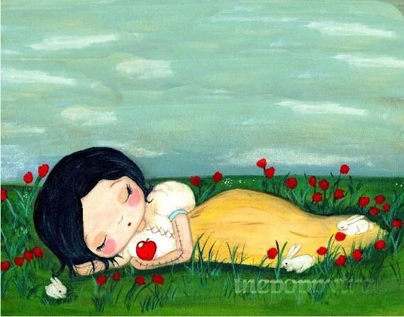 Snow White Print Fairy Tale Wall Art---The Poison Apple Sleep