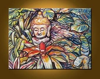 Buddha Garden IV -- 18 x 24 inch Original Oil Painting by Elizabeth Graf on Etsy, Art Painting