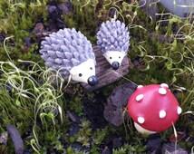 Miniature Hedgehogs and Mushroom Set - Terrarium Supplies