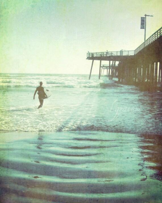 "Beach ocean photography print, surfer art California vintage style summer surf pier blue green wall art ""Afternoon Ride"""