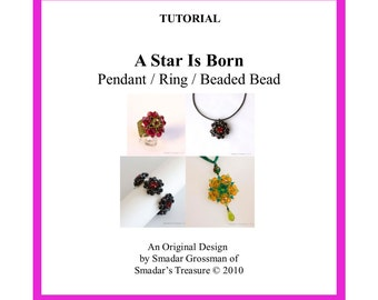 Beading Tutorial, A Star Is Born Pendant, Ring, Cabochon. Beaded Bead Component. Instant Download PDF File. Beadweaving Beadwork Design