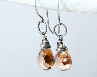 Quartz Earring Oxidized  Silver Peach Stone Earrings Gemstone  Jewelry Wire Wrapped Antique Sterling Silver Quartz Jewelry Women Jewellery