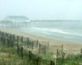 Pier Photograph, Ocean Photography, Rain, Beach Fences, Coastal Art, Beach Cottage Wall Art, Nautical Decor, Rainy Day - Summer Rain