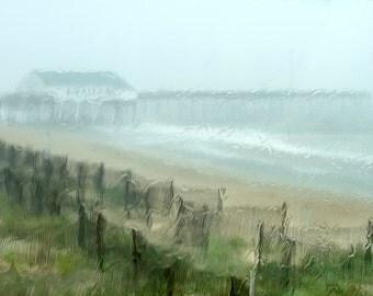 Rainy Day, Pier, Ocean Photography, Beach Fences, Summer Print, Coastal Art Photo, Beach Cottage Wall Art, Nautical Decor - Summer Rain