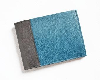 Mens Minimalist Wallet / Leather Wallet / Boyfriend Gift / Slim Leather Wallet / Custom Mens Wallet - The Frankie Wallet in Pacific Blue