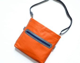 Leather Crossbody Bag / Crossbody Bag / Leather Bag / Shoulder Bag / Convertible Bag / Leather Crossbody - The Abby Satchel in Orange