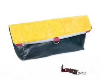 Leather Foldover Clutch / Oversized Clutch / Cosmetic Bag - The Lulu Travel Clutch in Lemon Yellow and Emerald Green